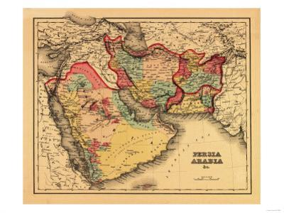 """Middle East """"Persia Arabia"""" - Panoramic Map by Lantern Press"""