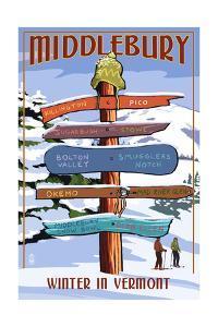 Middlebury, Vermont - Winter in Vermont Ski Signpost by Lantern Press