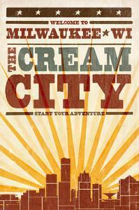 Milwaukee, Wisconsin - Skyline and Sunburst Screenprint Style by Lantern Press