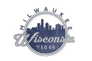 Milwaukee, Wisconsin - Skyline Seal (Blue) by Lantern Press