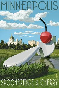 Minneapolis, Minnesota - Spoon Bridge and Cherry by Lantern Press