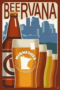 Minnesota - Beervana Vintage Sign by Lantern Press