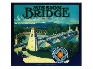 Mission Bridge Orange Label - Riverside, CA by Lantern Press
