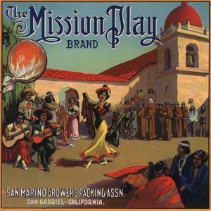 Mission Play Brand - San Gabriel, California - Citrus Crate Label by Lantern Press