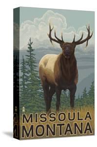 Missoula, Montana - Elk Scene by Lantern Press