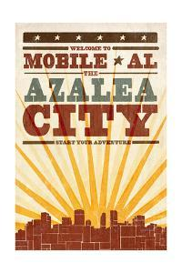 Mobile, Alabama - Skyline and Sunburst Screenprint Style by Lantern Press