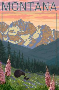 Montana - Bear Family and Spring Flowers by Lantern Press