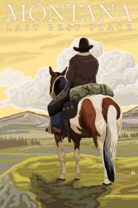 Montana, Last Best Place, Cowboy on Horseback by Lantern Press