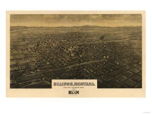 Montana - Panoramic Map of Billings by Lantern Press