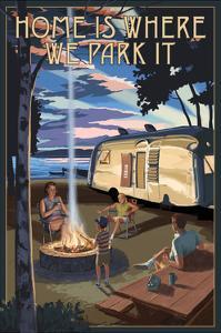 Montana - Retro Camper and Lake by Lantern Press