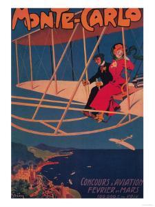 Monte Carlo, Monaco - Aviation Sporting Poster by Lantern Press