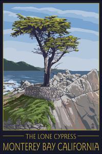 Monterey Bay, California - Lone Cypress Tree by Lantern Press