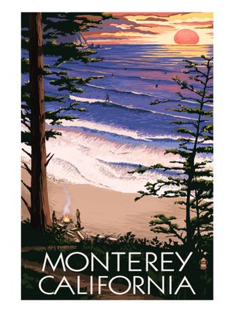 Monterey, California - Sunset and Beach by Lantern Press
