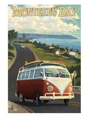 Monterey, California - VW Van by Lantern Press