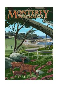 Monterey Peninsula, California - 17 Mile Drive by Lantern Press