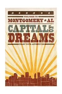 Montgomery, Alabama - Skyline and Sunburst Screenprint Style by Lantern Press