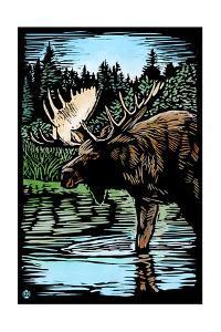 Moose - Scratchboard by Lantern Press