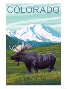 Moose with Mountain - Colorado by Lantern Press
