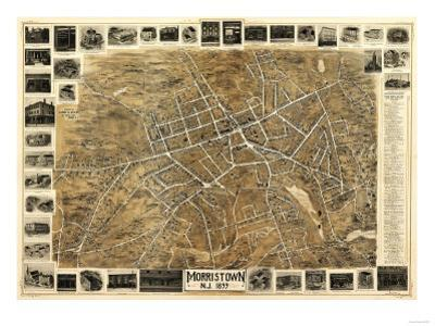 Morristown, New Jersey - Panoramic Map by Lantern Press
