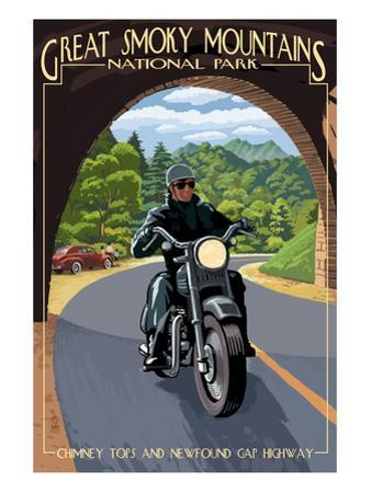 Motorcycle and Tunnel - Great Smoky Mountains National Park, TN by Lantern Press