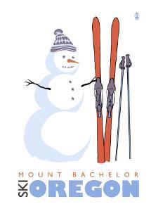Mount Bachelor, Oregon, Snowman with Skis by Lantern Press