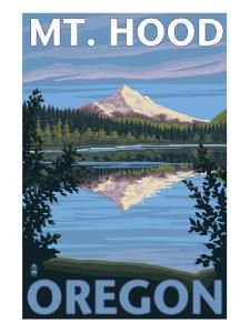 Mount Hood, Oregon, View of the Mountain from Lost Lake by Lantern Press