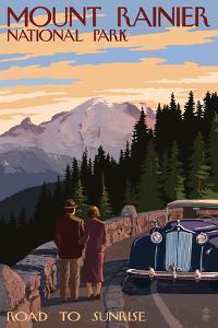 Mount Rainier National Park - Road to Sunrise by Lantern Press