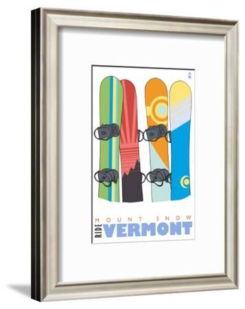 Mount Snow, Vermont, Snowboards in the Snow