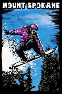 Mount Spokane, Washington - Scratchboard Snowboarder by Lantern Press