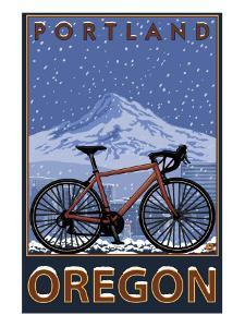 Mountain Bike in Snow - Portland, Oregon by Lantern Press