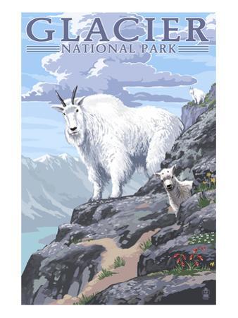Mountain Goat and Kid - Glacier National Park, Montana by Lantern Press
