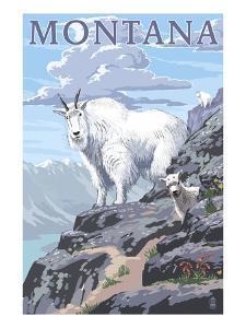 Mountain Goat and Kid - Montana by Lantern Press