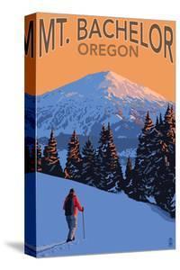 Mt. Bachelor and Skier - Oregon by Lantern Press