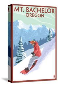 Mt. Bachelor, Oregon - Snowboarder Scene by Lantern Press