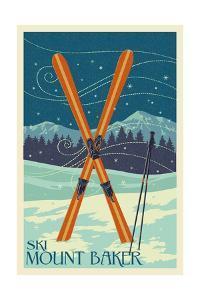 Mt. Baker, Washington - Crossed Skis by Lantern Press