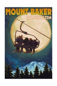 Mt. Baker, Washington - Ski Lift and Full Moon by Lantern Press
