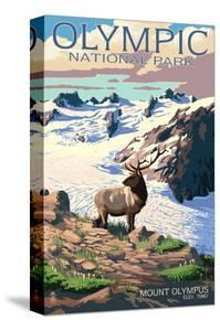 Mt. Olympus and Elk - Olympic National Park, Washington by Lantern Press