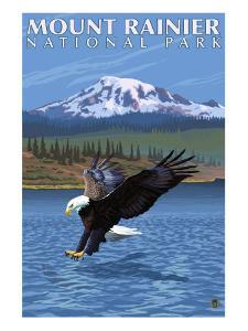 Mt. Rainier National Park, Washington, Eagle Fishing by Lantern Press