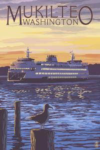 Mukilteo, Washington - Ferry at Sunset by Lantern Press