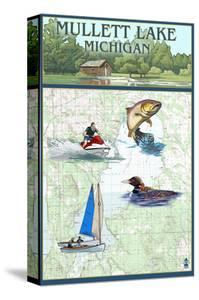 Mullett Lake, Michigan - Nautical Chart by Lantern Press