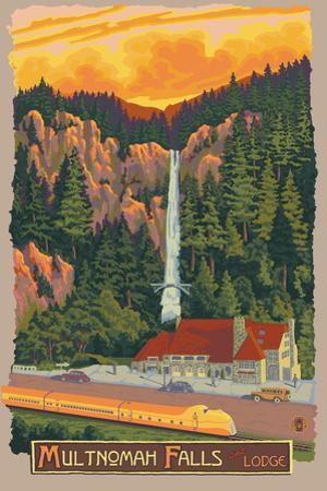 Multnomah Falls Lodge, Oregon by Lantern Press