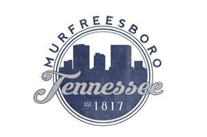 Murfreesboro, Tennessee - Skyline Seal (Blue) by Lantern Press