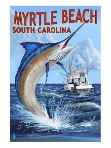 Myrtle Beach, South Carolina - Marlin Fishing Scene by Lantern Press