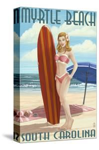 Myrtle Beach, South Carolina - Pinup Girl Surfing by Lantern Press