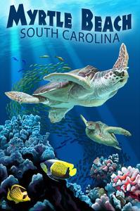 Myrtle Beach, South Carolina - Sea Turtles Swimming by Lantern Press