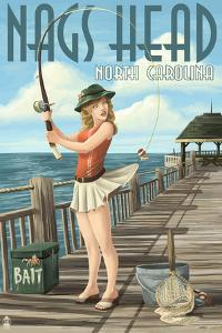 Nags Head, North Carolina - Pinup Girl Fishing by Lantern Press