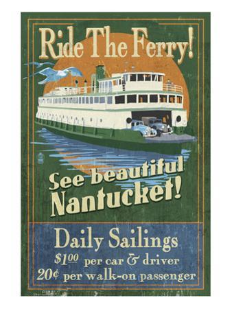 Nantucket, Massachusetts - Ferry Ride by Lantern Press