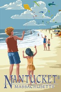 Nantucket, Massachusetts - Kite Flyers by Lantern Press