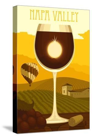 Napa Valley, California - Wine Glass and Vineyard