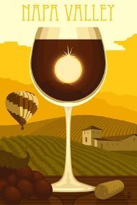 Napa Valley, California - Wine Glass and Vineyard by Lantern Press